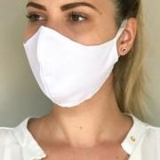 Kit 10 Peças Máscaras Reutilizável Antialérgica de Proteção para o Rosto Malha Dupla Branca
