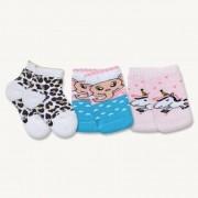 Kit 3 Pares de Meias Bebê Sene Estampadas Rosa, Amarela e Azul 0 à 8 meses N. 13 ao 20