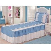 Kit 3 Peças Solteiro Colcha e Porta Travesseiro Voil Babados e Carrinhos Branco e Azul e Refil