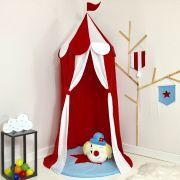 Kit 3 Peças Tenda Cabaninha de Teto Infantil Circo com Tapete e Almofada Vermelha e Branca e Azul
