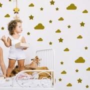 Kit 49 Peças Adesivos Autocolantes de Parede Nuvem e Estrelas Dourado