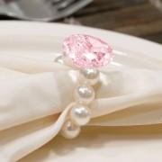 Kit 6 Peças Abraçadeira Prendedor Porta Guardanapo Pérola Pingente Cristal Rosa para Mesa de 6 Lugares