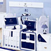 Kit Berço 8 Peças Coroa Listra Marinho e Branco Coleção Príncipe