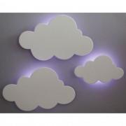 Kit 3 Peças Nuvens Luminárias MDF Branca com LED de Luz Fria