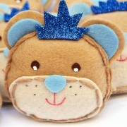 Lembranças Chaveiro 30 Unidades Feltro Azul Príncipe Urso Coroa