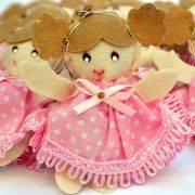 Lembranças Chaveiro 30 Unidades Feltro Rosa Boneca Vestido Lacinho