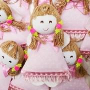 Lembranças Chaveiro 30 Unidades Feltro Rosa Boneca Vestido Poá