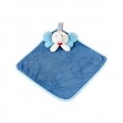 Naninha Pequena Soft Azul Elefante com Prendedor de Chupeta
