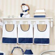 Porta Fraldas e Trecos 3 Peças Marinho Bege e Branco para Varão Coleção Todd Marinho