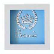 Quadro de Parede Branco Azul Coroa Trigo Pedras Mdf Personalizado com Nome