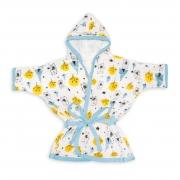 Roupão de Fralda Soft Premium Bebê Hipoalergênico com Capuz Urso Oca Azul