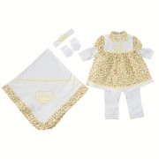 Saída Maternidade Branca e Amarela Floral Coroa Strass com Faixa e Luvas 0850f1d47d8