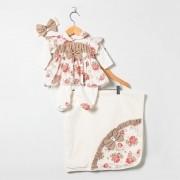 Saída Maternidade Manga Longa Floral Poá Laço com Faixa