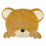 Tapete de Pelúcia Emborrachado Urso Dormindo Bege e Palha