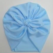 Touca Turbante Adulto Malha Gel Laço Azul Bebê