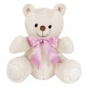Ursa Pelúcia Importada Pequena Marfim Laço Rosa