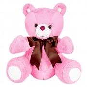 Ursa Pelúcia Importada Pequena Rosa Laço Marrom
