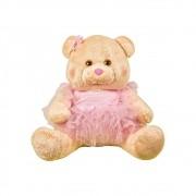 Ursa Soft Pequena Bailarina Vestido Rosa Tule Laço