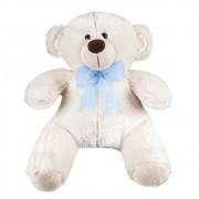 Urso Palha Pelúcia Importada Médio Palha Laço Azul Pérola