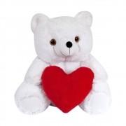 Urso Pelúcia Importada Grande Branco Coração Vermelho