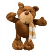Urso Pelúcia Importada Grande Marrom Cachecol Listrado