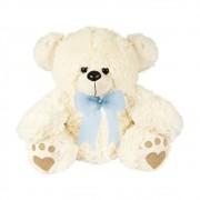 Urso Pelúcia Importada Médio Palha Laço Azul