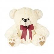Urso Pelúcia Importada Médio Palha Laço Vermelho