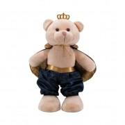 Urso Soft Grande Príncipe Capa Cetim Médio e Dourado com Coroa