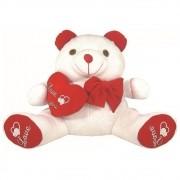 Urso Soft Médio Branco com Laço Coração Plush Vermelho Love