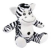 Zebra Pelúcia Importada Média Preta e Branca Sentada
