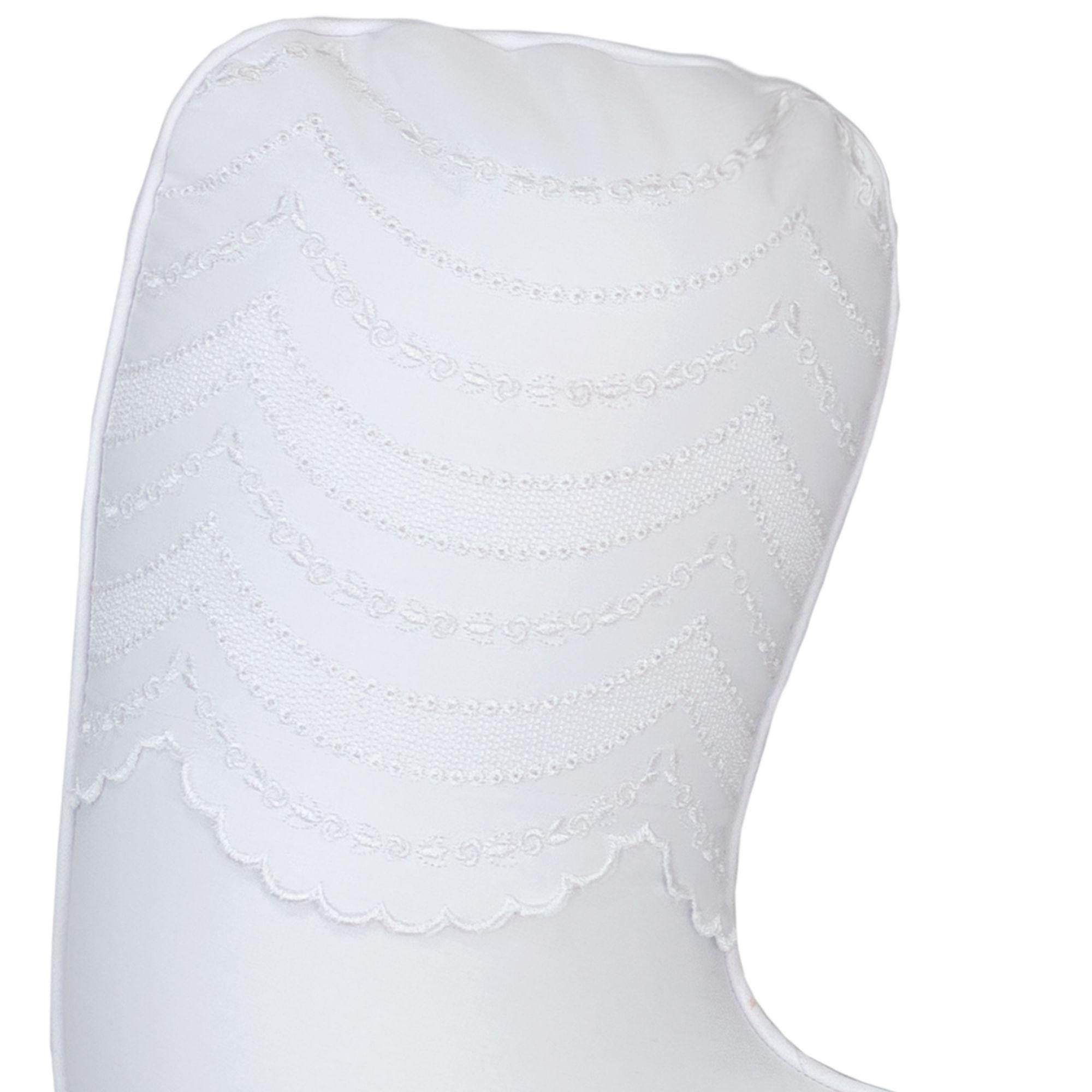 Almofada Amamentação Percal 300 Fios Bordada Branca Coleção Ashley