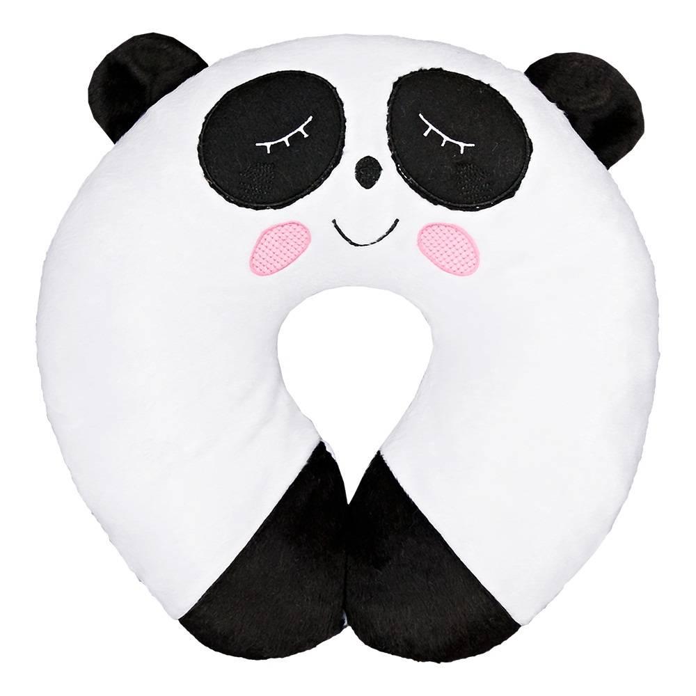 Almofada Apoio para Pescoço Bebê Pelúcia Importada Branco Panda