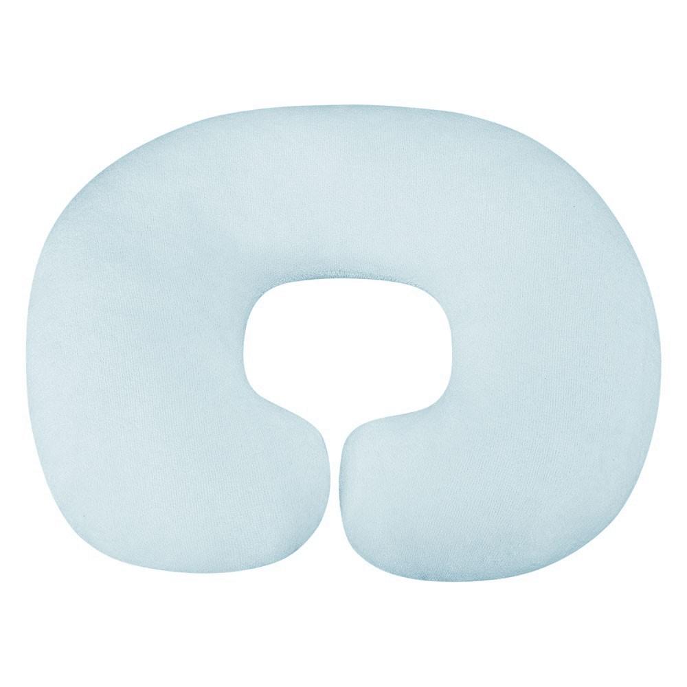 Almofada Apoio para Pescoço Bebê Pelúcia Importada Liso Azul