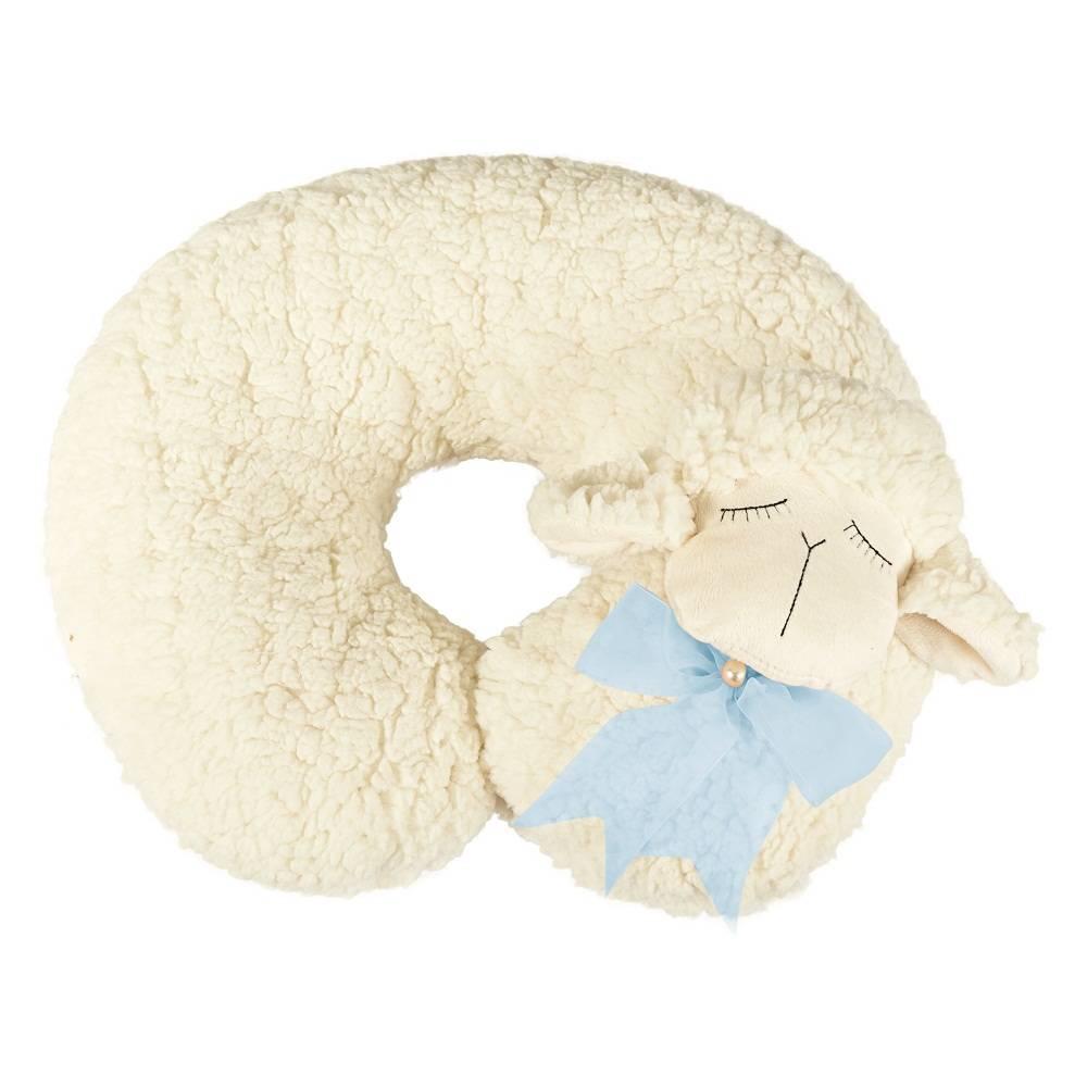 Almofada Apoio para Pescoço Bebê Pelúcia Importada Ovelha Laço Azul
