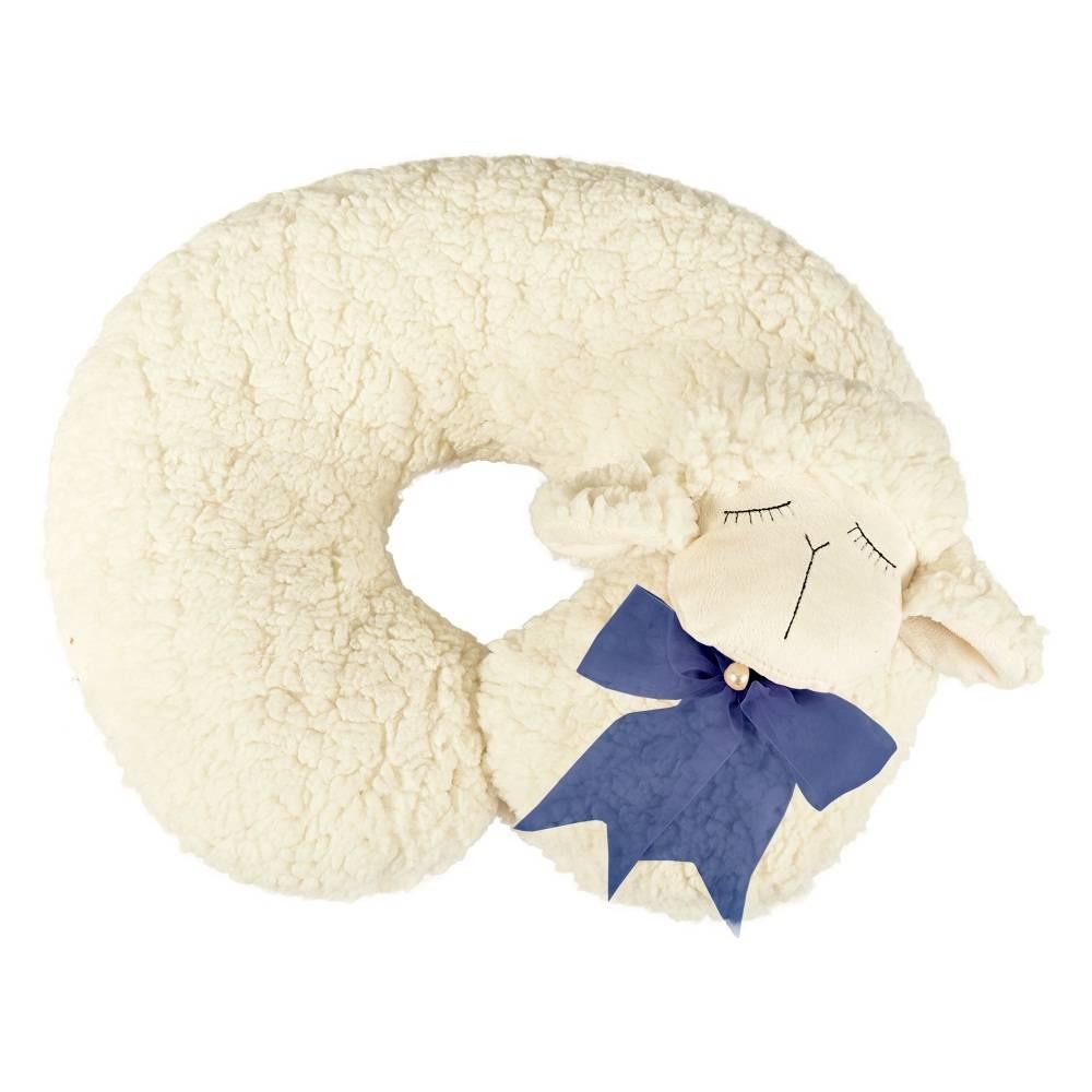 Almofada Apoio para Pescoço Bebê Pelúcia Importada Ovelha Laço Marinho