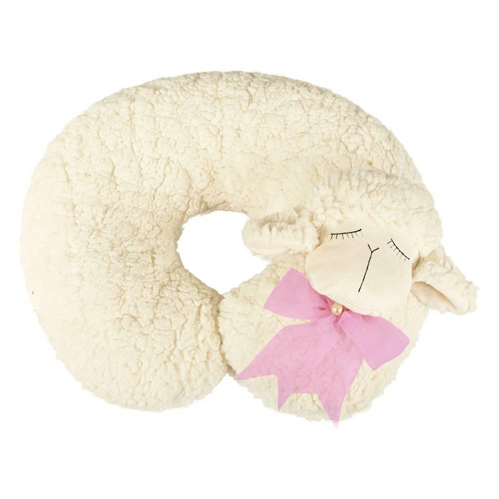 Almofada Apoio para Pescoço Bebê Pelúcia Importada Ovelha Laço Rosa