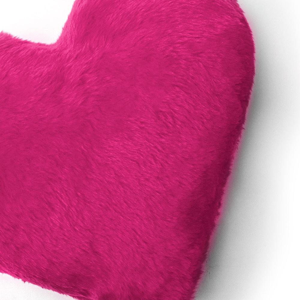 Almofada Decorativa Coração Pelúcia Pelo Curto Pink