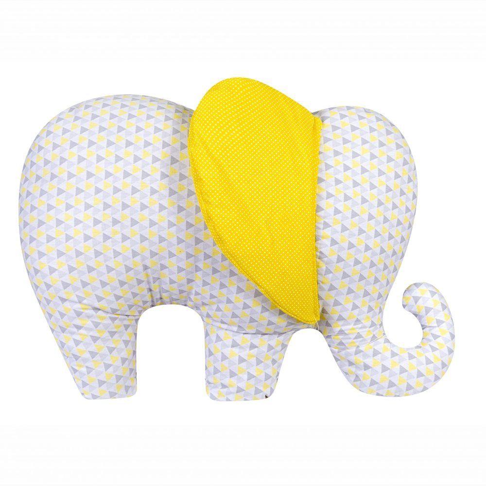 Almofada Decorativa Elefante Triângulos Poá Amarelo Branco e Cinza