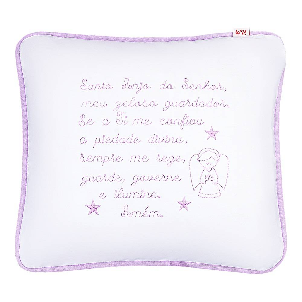 Almofada Decorativa Oração Santo Anjo Lilás Bordada