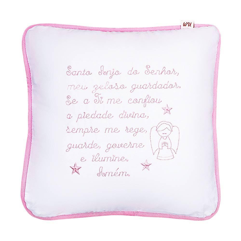 Almofada Decorativa Oração Santo Anjo Rosa Bordada
