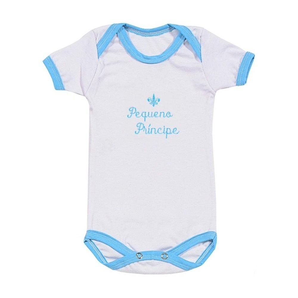 07ad6217f Body Manga Curta Azul Bordado Flor de Liz Pequeno Príncipe - Shopping do  Bebê