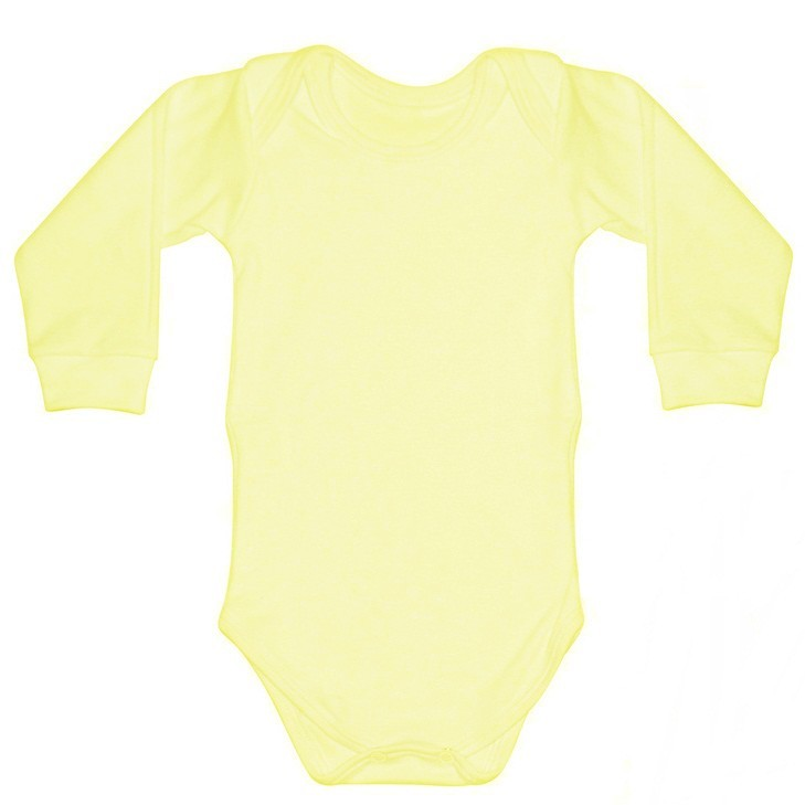 Body Manga Longa Malha Suedine Amarelo