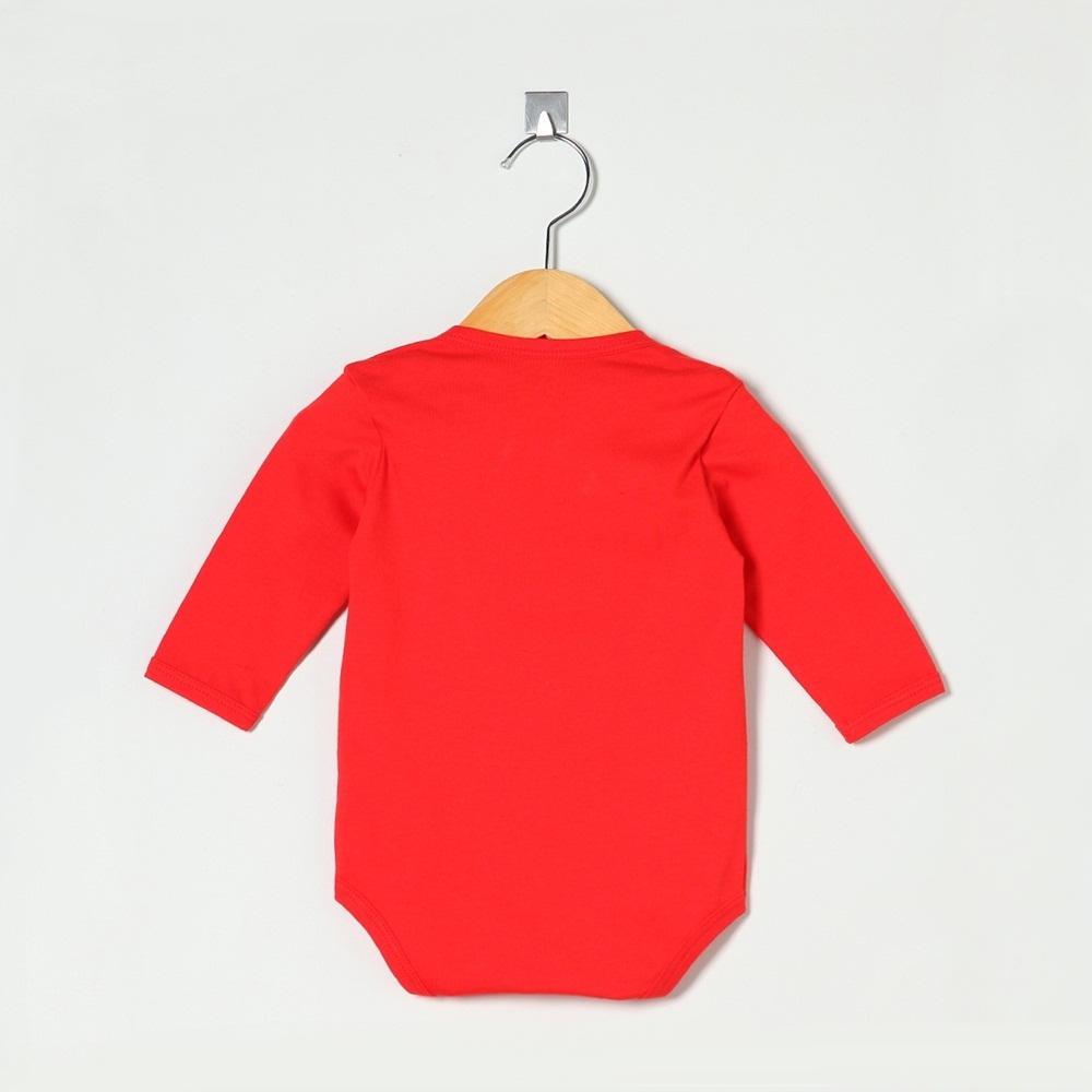 Body Manga Longa Vermelho Liso