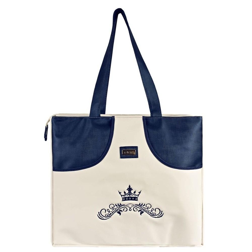 Bolsa Grande Nylon Coroa com Strass e Pérolas
