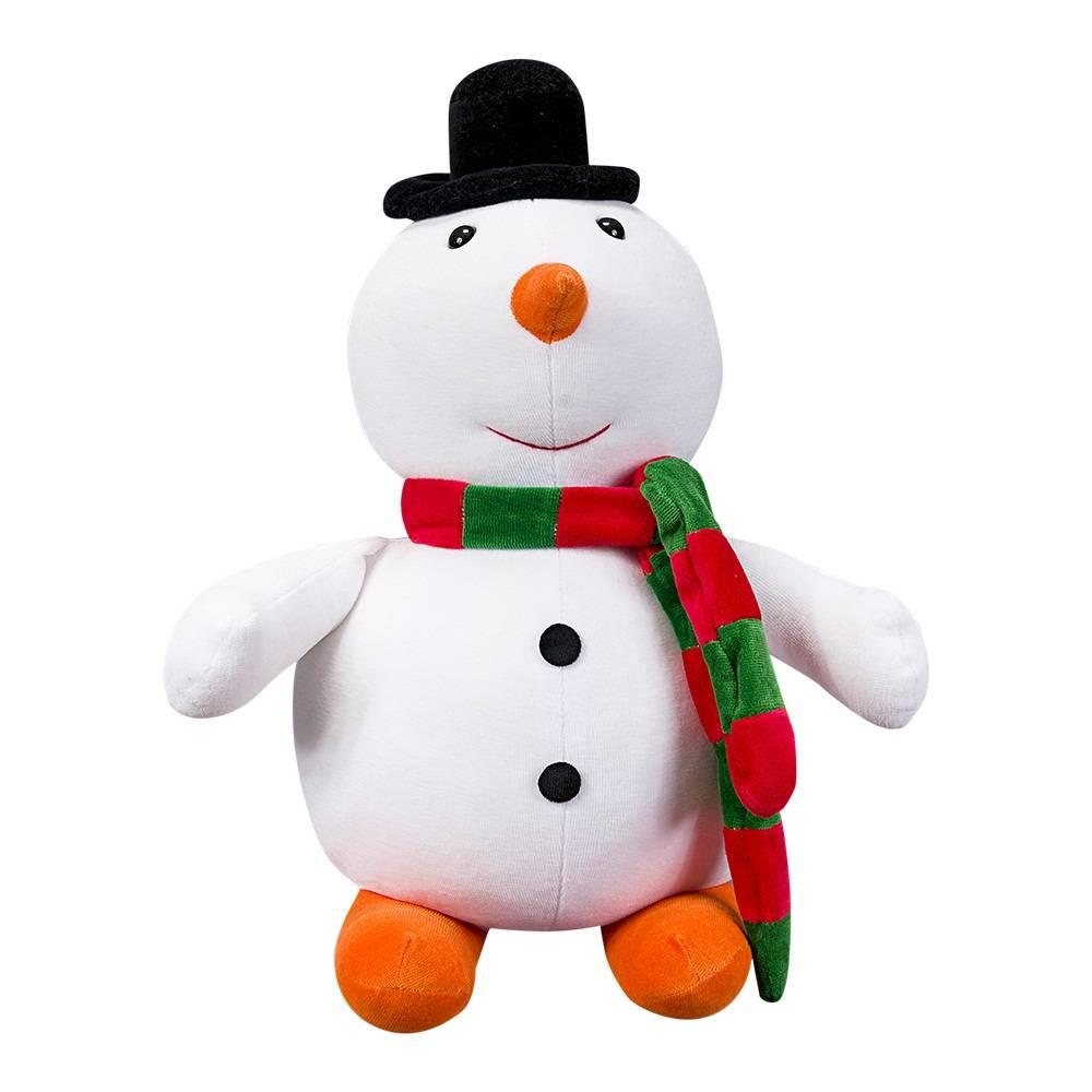 Boneco da Neve Natal Plush Pequeno Branco Cachecol Verde e Vermelho
