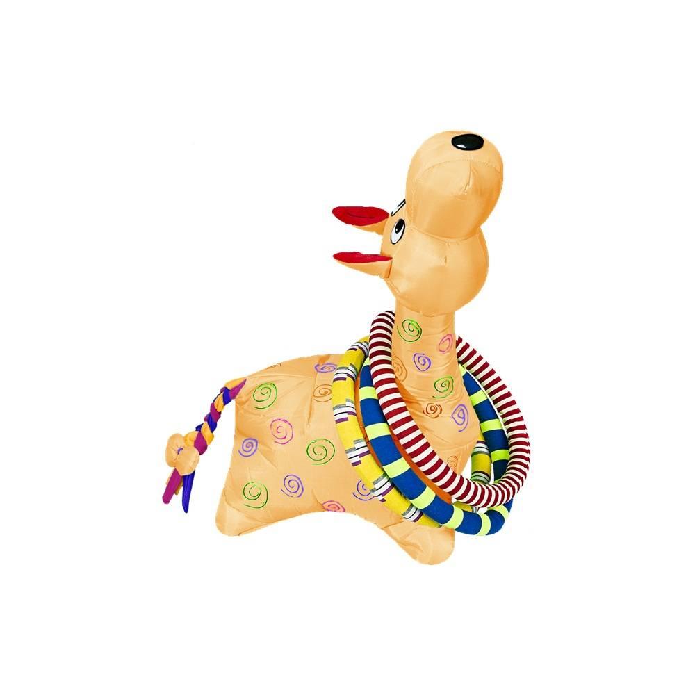 Brinquedo Girafa Argolas Grande Laranja Colorida