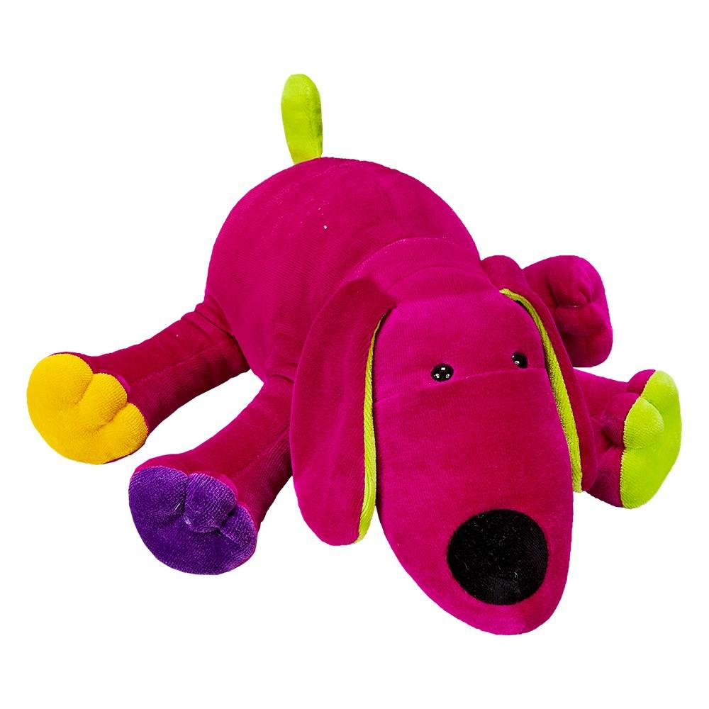 Cachorrinha Plush Média Pink Deitada Colorida com Chocalho