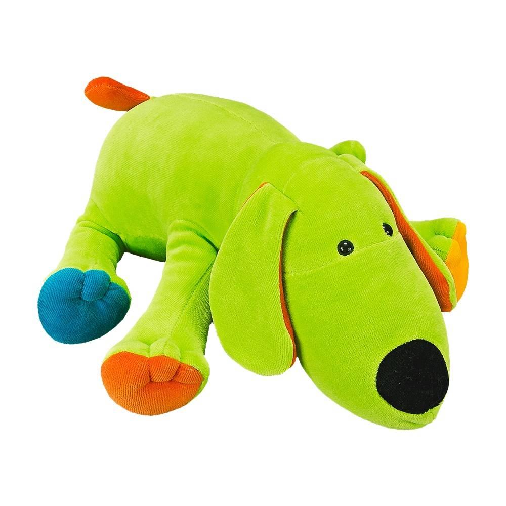 Cachorrinho Plush Médio Verde Deitado Colorido com Chocalho