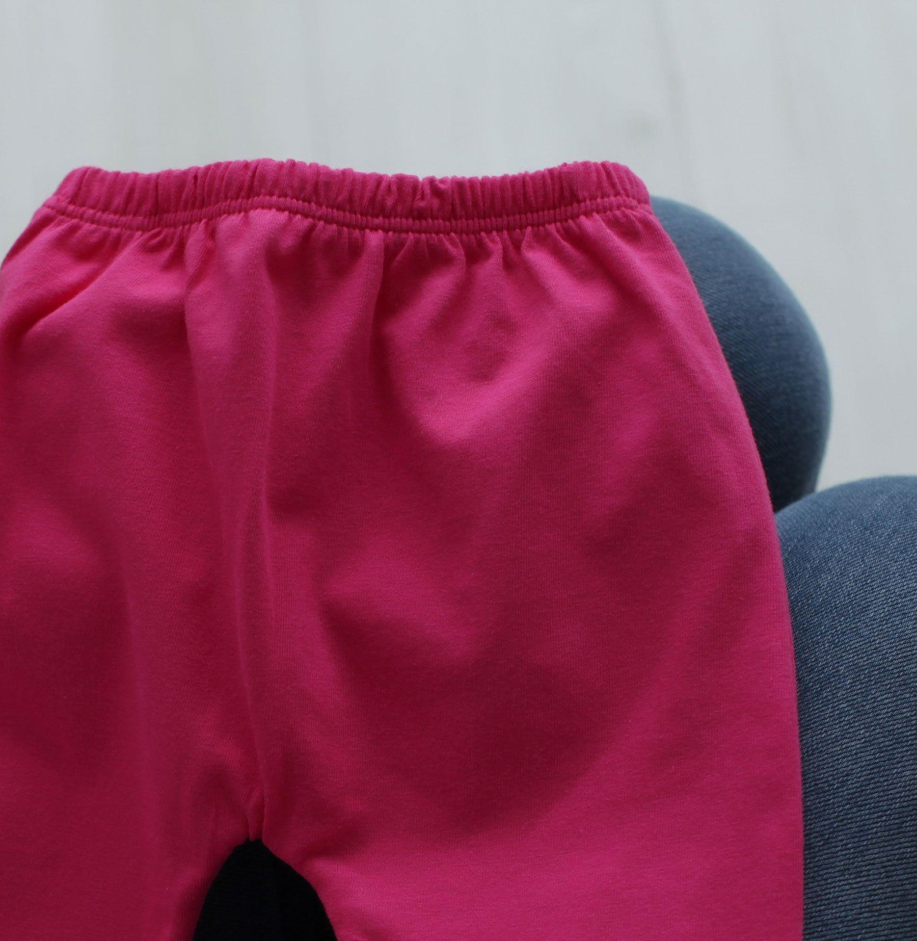 Calça Mijão (Culote) Bebê Malha Vira Pé Reversível Liso Pink