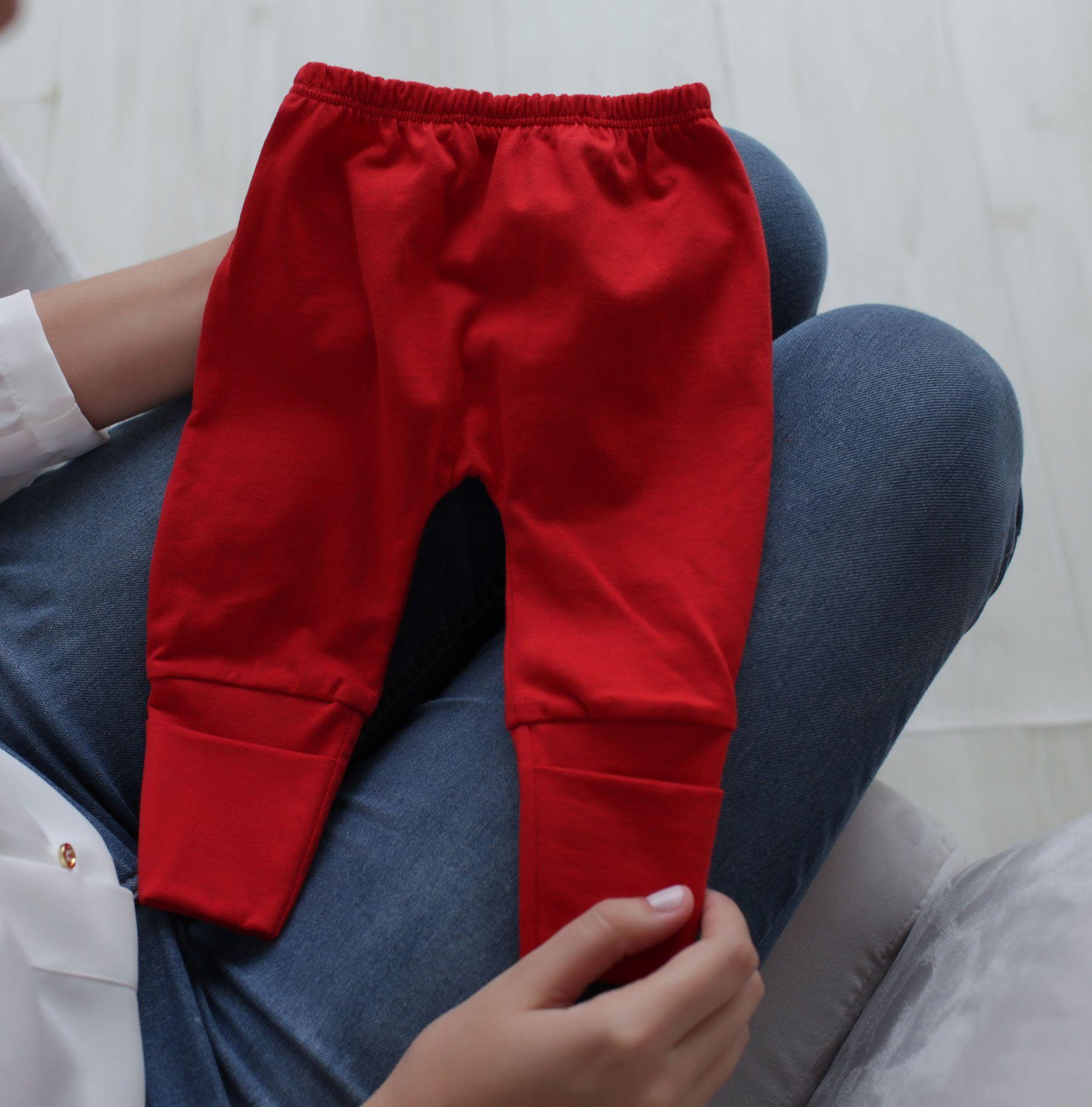 Calça Mijão (Culote) Infantil Malha com Punho Liso Vermelho